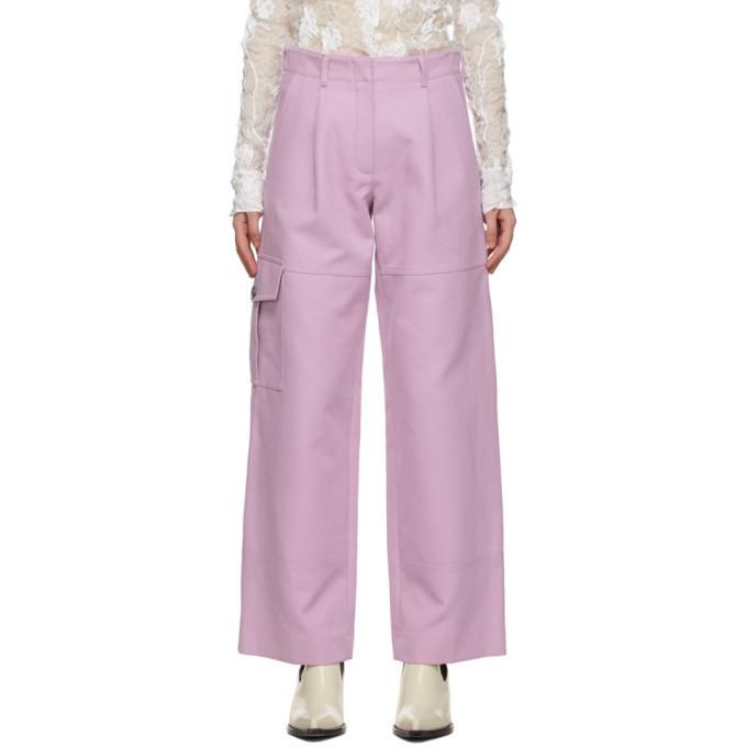 Nina Ricci Pink Twill Cargo Trousers in lilac