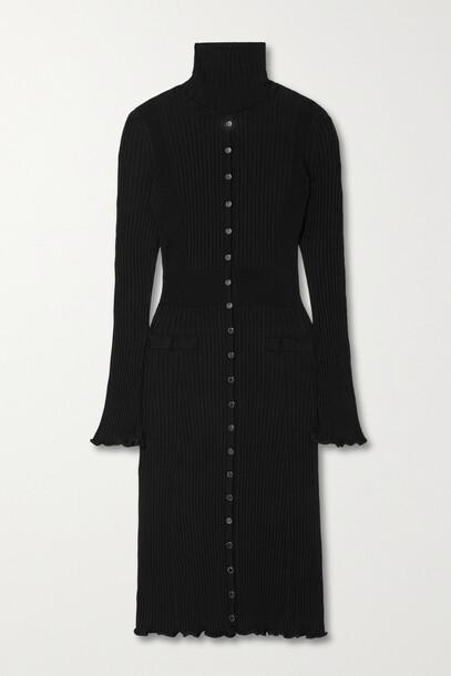 Paco Rabanne - Ribbed Cotton-blend Midi Turtleneck Dress - Black