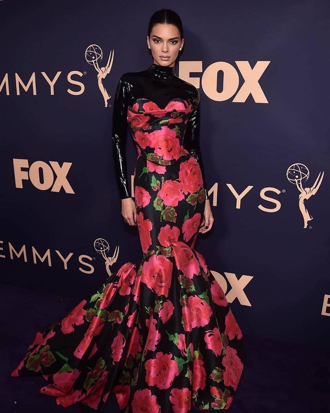 top vinyl turtleneck bodysuit kendall jenner kardashians maxi dress gown floral floral dress red carpet dress emmys