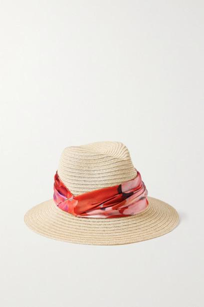 Eugenia Kim - Lilian Floral-print Satin-trimmed Hemp-blend Hat - Beige