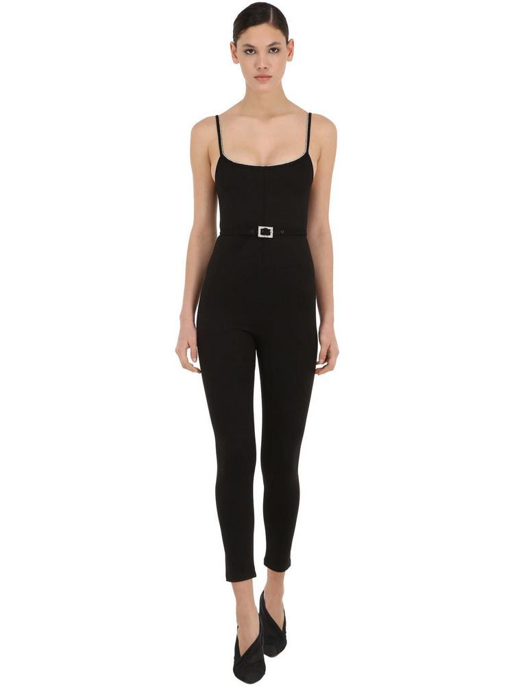 AYA MUSE Long Embellished Stretch Jumpsuit in black