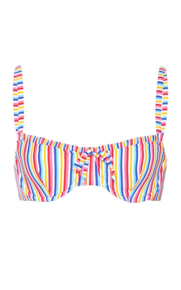 Onia Marilyn Striped Ribbed Bikini Top Size: XS in multi