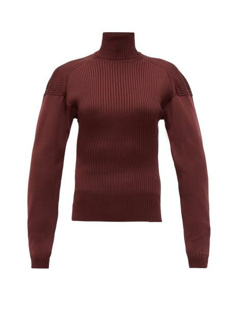 Bottega Veneta - Cut Out Roll Neck Ribbed Silk Sweater - Womens - Burgundy