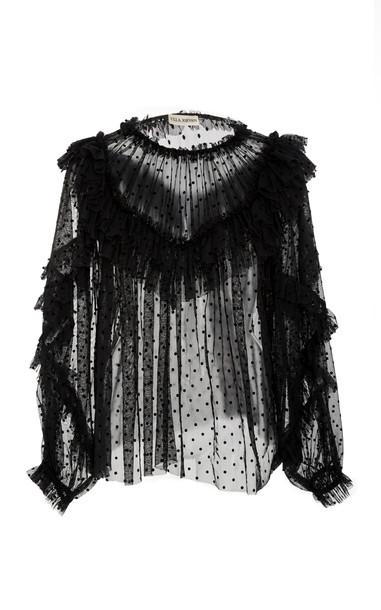 Ulla Johnson Dita Ruffled Flocked Cotton-Blend Tulle Blouse in black