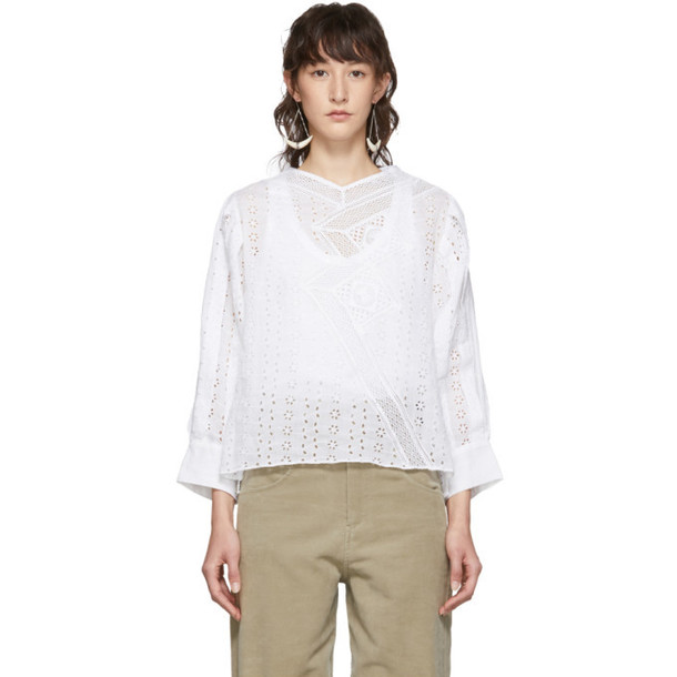 Isabel Marant White Broderie Anglaise Quena Blouse