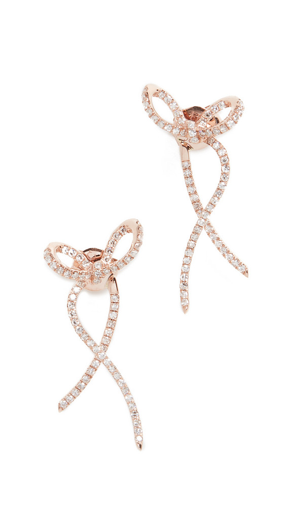 EF Collection 14k Diamond Ribbon Earrings in gold / rose