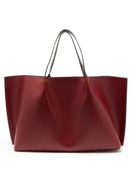 Valentino - Go Logo Large Leather Tote Bag - Womens - Burgundy