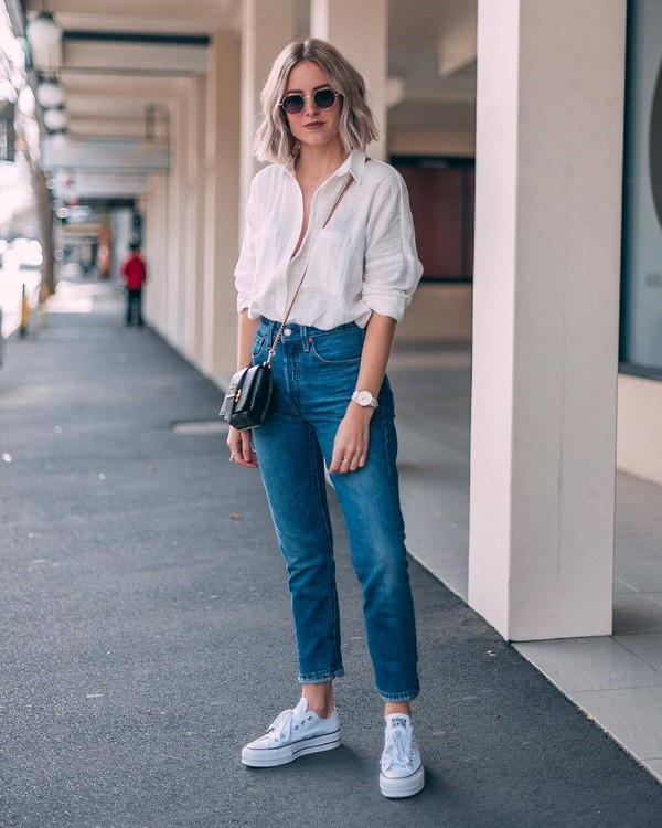 jeans straight jeans levi's converse white sneakers high waisted jeans white shirt black bag