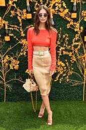 top,crop tops,cropped,red,emily ratajkowski,model off-duty,skirt,midi skirt