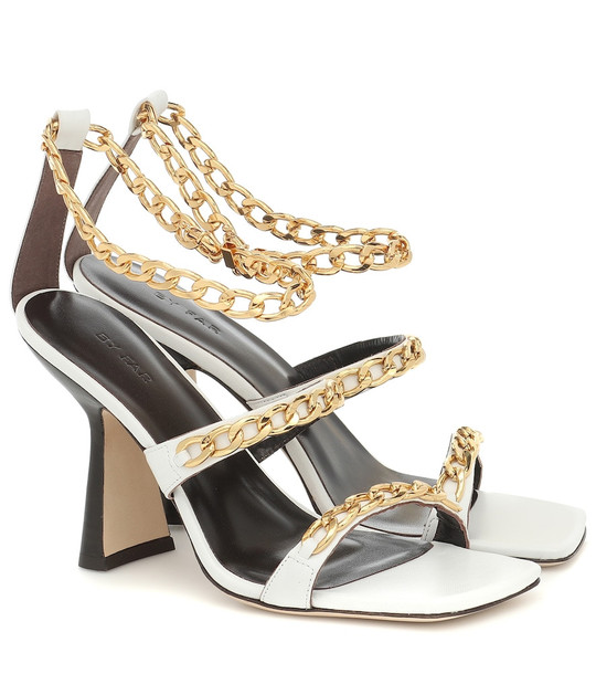 By Far Gina chain-trimmed leather sandals in white