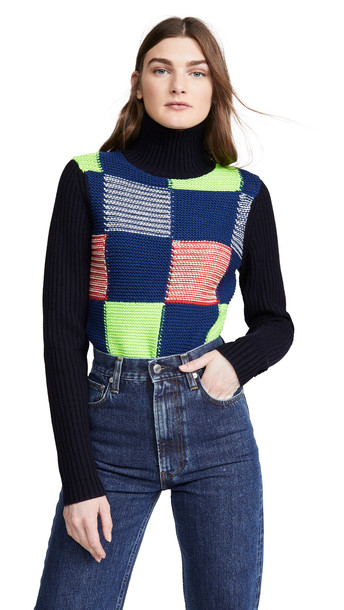 Victoria Beckham Patchwork Polo Neck Sweater in navy / multi