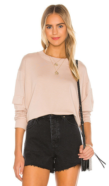 MONROW Patch Pocket Sweatshirt in Taupe
