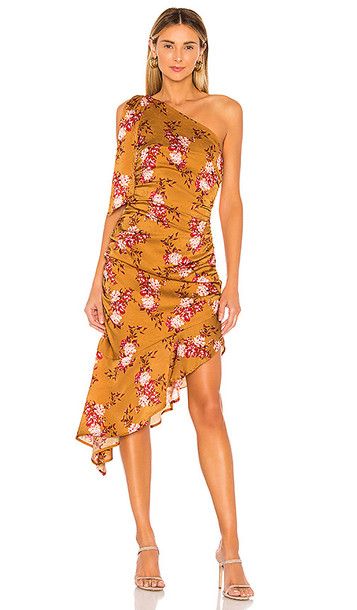 MAJORELLE Princeton Midi Dress in Mustard