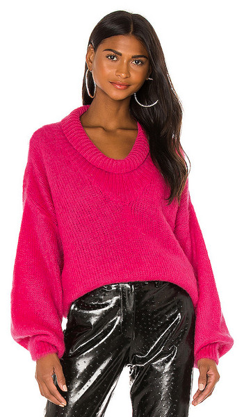 MSGM Mohair Pullover in Pink in fuchsia