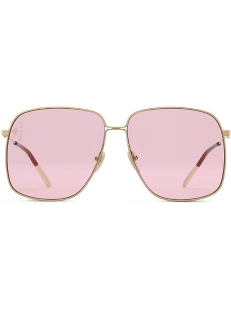 Gucci Eyewear oversized square-frame sunglasses in metallic