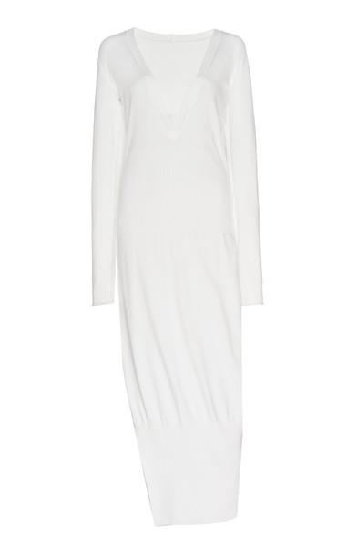 Zeynep Arçay V Neck Knit Midi Dress in white