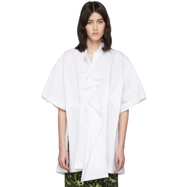 Nina Ricci White Poplin Ruffle Shirt