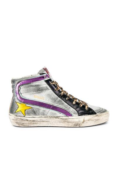 Golden Goose Slide Sneaker in metallic / silver
