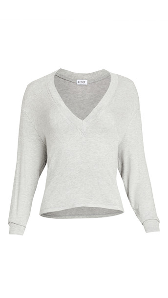 Leset Lori Brushed V Sweater in grey