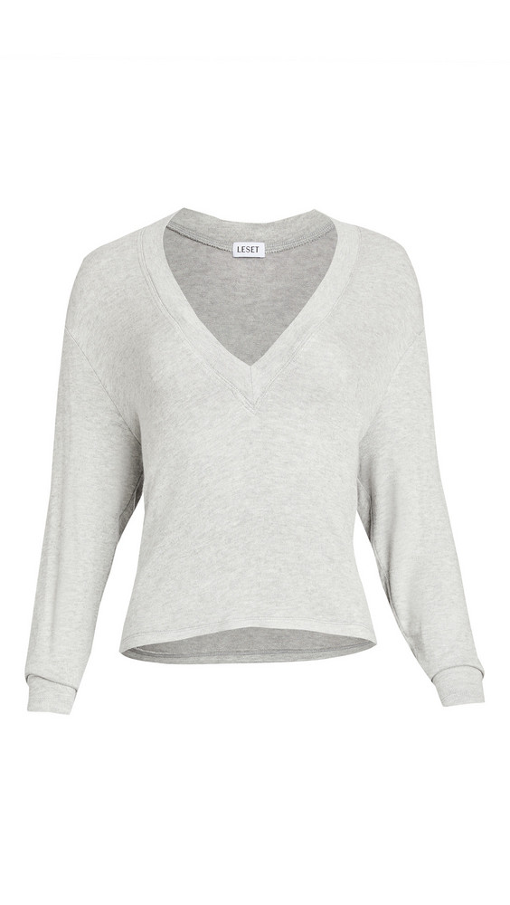 Leset Lori Brushed V Sweater in grey