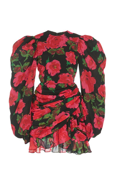 Richard Quinn Ruched Floral-Print Chiffon Dress Size: 6 in red