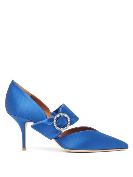 Malone Souliers - Maite 70mm Brooch Encrusted Satin Heels - Womens - Blue