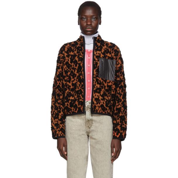 Proenza Schouler Black and Orange PSWL Leopard Bubble Jacquard Jacket
