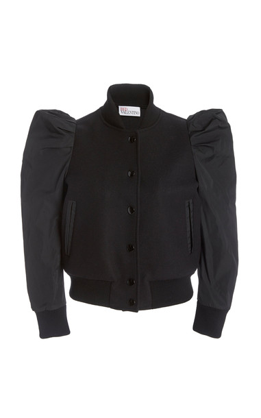 Red Valentino Puff Sleeve Button Down Jacket in black
