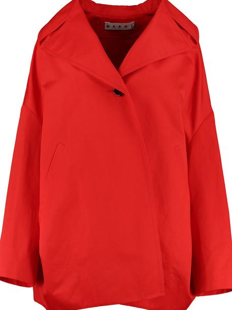 Marni Cotton-linen Kimono Jacket in red