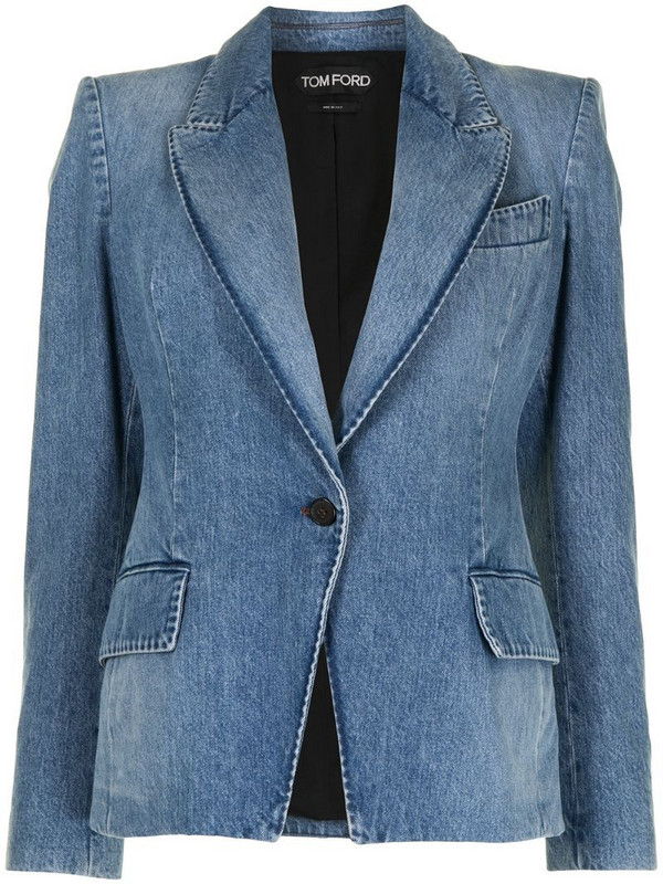 Tom Ford peak-lapel single-breasted denim blazer in blue