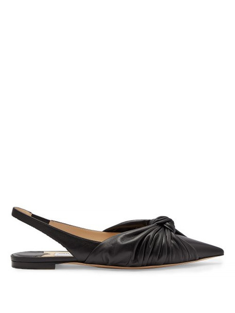 Jimmy Choo - Annabelle Knot Front Leather Slingback Flats - Womens - Black