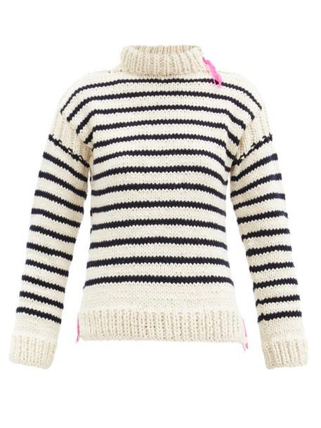 La Fetiche - High-neck Intarsia-striped Wool Sweater - Womens - Ivory Multi