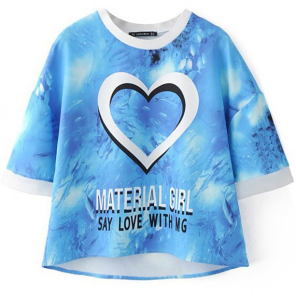 t-shirt blue style cool quote on it fashion streetwear heart boogzel trendy summer