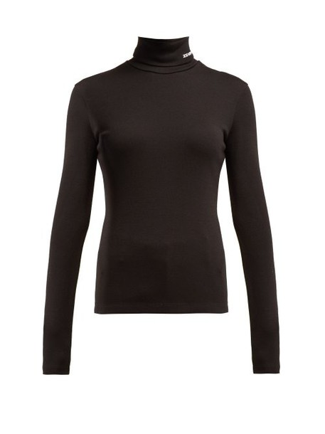 Calvin Klein 205w39nyc - Logo Embroidered Roll Neck Wool Sweater - Womens - Black