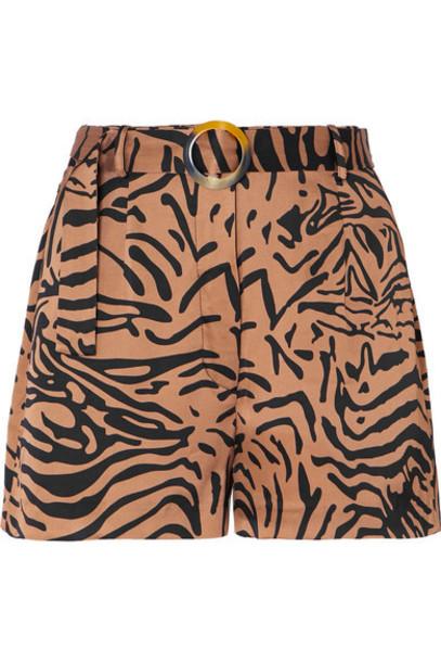 De La Vali - Kid Belted Tiger-print Satin Shorts - Light brown