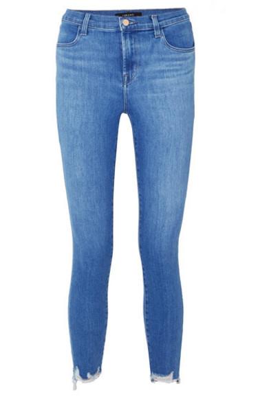 J Brand - Alana Cropped Distressed High-rise Skinny Jeans - Mid denim