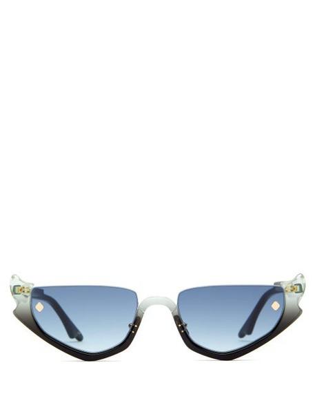 Moy Atelier - Stranger's Ray Cat Eye Acetate Sunglasses - Womens - Blue