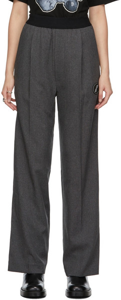 We11done Grey Logo Trousers in charcoal
