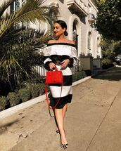 dress,midi dress,black and white,long sleeves,gucci,gucci belt,pumps,leopard print,red bag