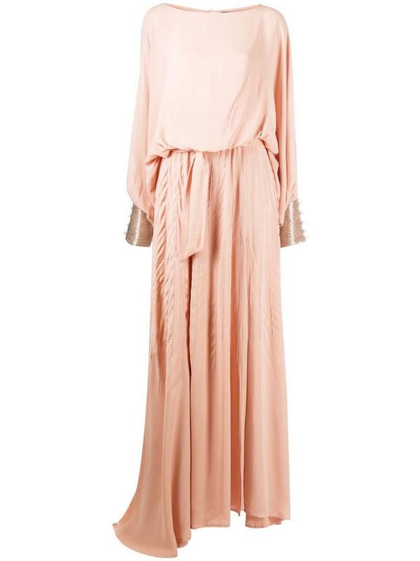 Christian Pellizzari bead-embellished long dress in pink