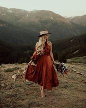hat,midi dress,sandal heels