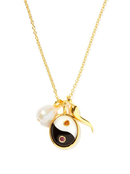 Lizzie Fortunato - Yin Yang Oasis Pearl & Gold-vermeil Necklace - Womens - Black White