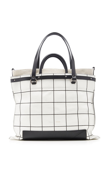 Proenza Schouler PS19 Small Plaid Leather Tote Bag in black / white