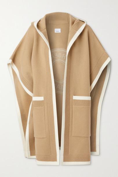 Burberry - Hooded Wool-blend Jacquard Cape - Beige