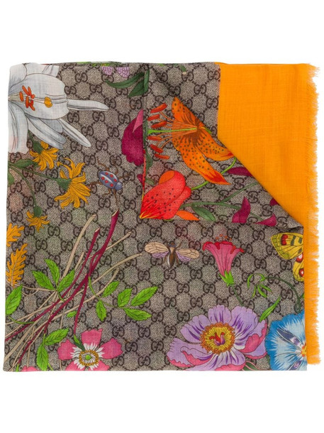 Gucci Flora print scarf in yellow