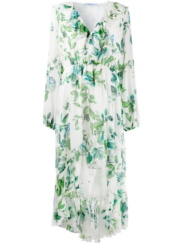 Blumarine floral-print ruffled dress in white