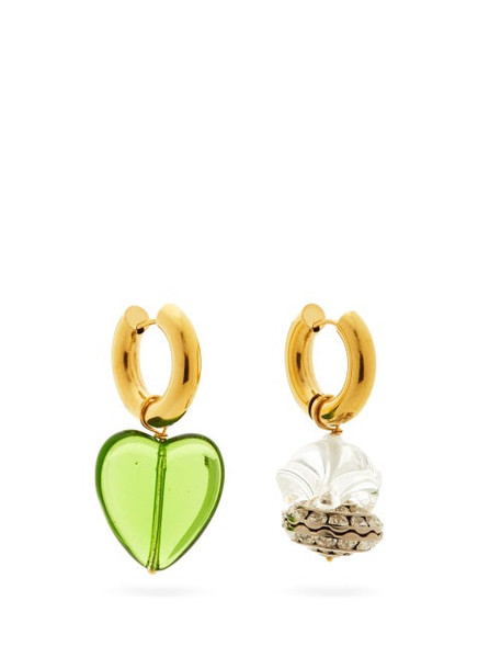 Timeless Pearly - Mismatched Glass & 24kt Gold-plated Hoop Earrings - Womens - Green Multi
