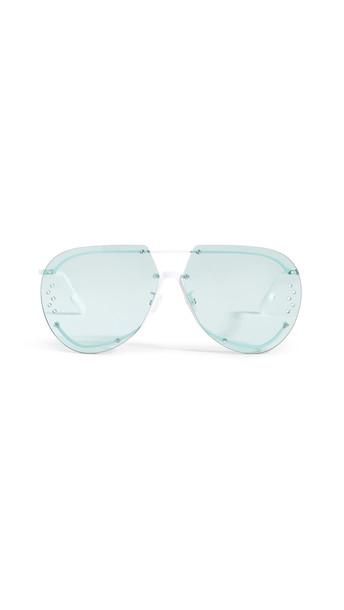 KENZO Rimless Aviator Sunglasses in green / white