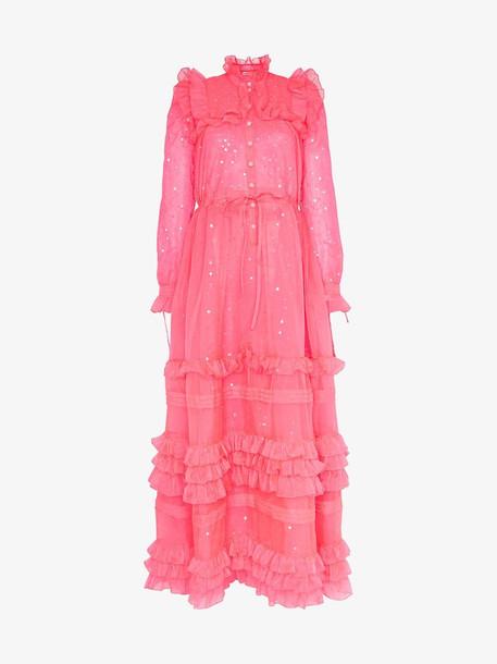 Ashish sequin embellished ruffle dress in pink