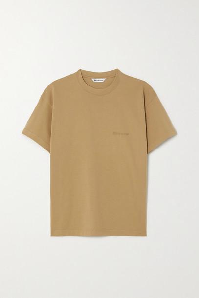 Balenciaga - Embroidered Cotton-jersey T-shirt - Brown